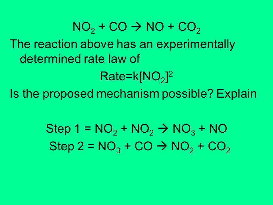 NO2 + CO  NO + CO2 The reaction above has an experimentally determined rate law of. Rate=k[NO2]2.